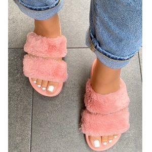 Blush Double Band Faux Fur Slides Sandals Slippers